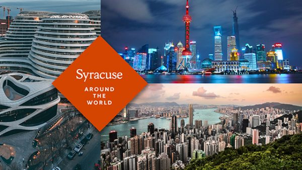 Syracuse around the World banner with photos from various world destinations
