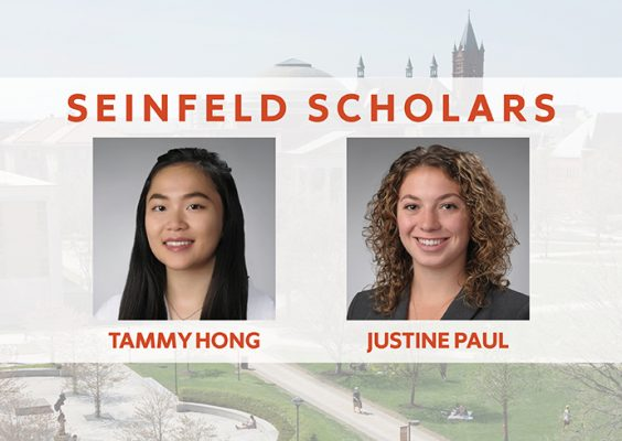 Seinfeld Scholars with photos and names, Tammy Hong and Justine Paul
