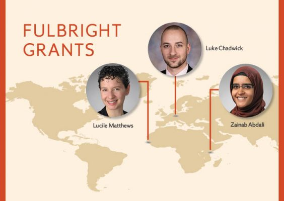 "Map of the world with photos of three Fulbright grantees showing where they will serve and legend ""Fulbright Grants"""