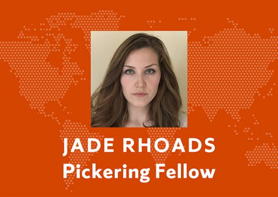"photo of Jade Rhoads with name and ""Pickering Fellow"" on orange background"