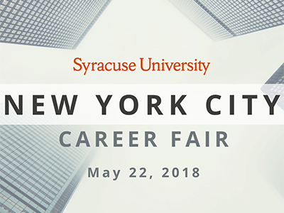 Syracuse University New York City Career Fair banner with date, May 22, 2018