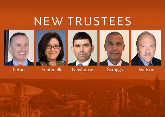 New Trustees with photos and names on orange background with campus buildings