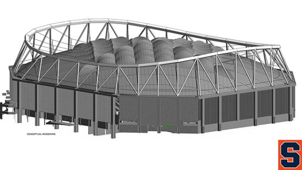 An artist's rendering of the exterior of the stadium