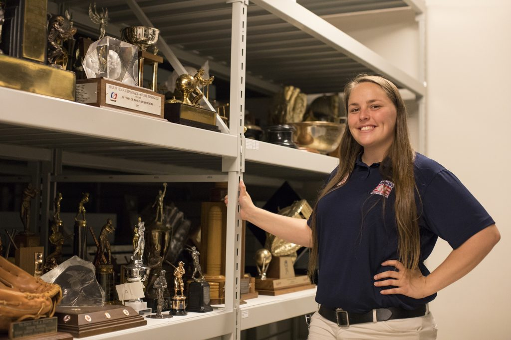 Lily Brandt G'19 in the collections department at the Baseball Hall of Fame.