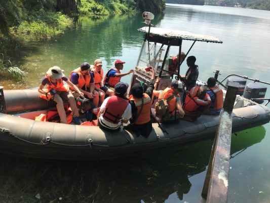 Syracuse University and University of Rwanda students aboard a research vessel on Lake Kivu in Rwanda.