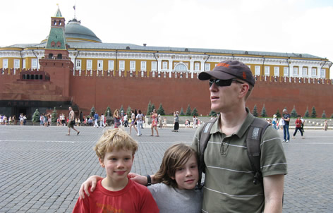a man and two children at Kremlin