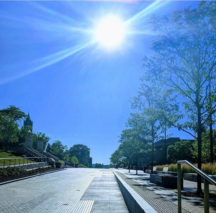 sun over campus walkway