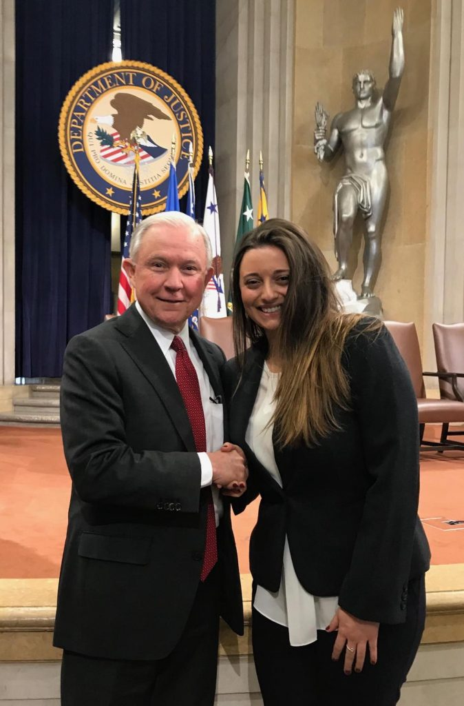 In January 2018, as part of her law externship at the U.S. Department of Justice, third-year law student Kristina Cervi met U.S. Attorney General Jeff Sessions.
