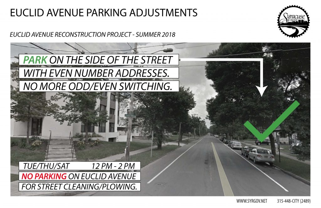 Graphic photo of Euclid Avenue with text that reads: PARK ON THE SIDE OF THE STREET WITH EVEN NUMBER ADDRESSES. NO MORE ODD/EVEN SWITCHING. TUESDAY/THURSDAY/SATURDAY 12 PM - 2 PM NO PARKING ON EUCLID AVENUE FOR STREET CLEANING/PLOWING.