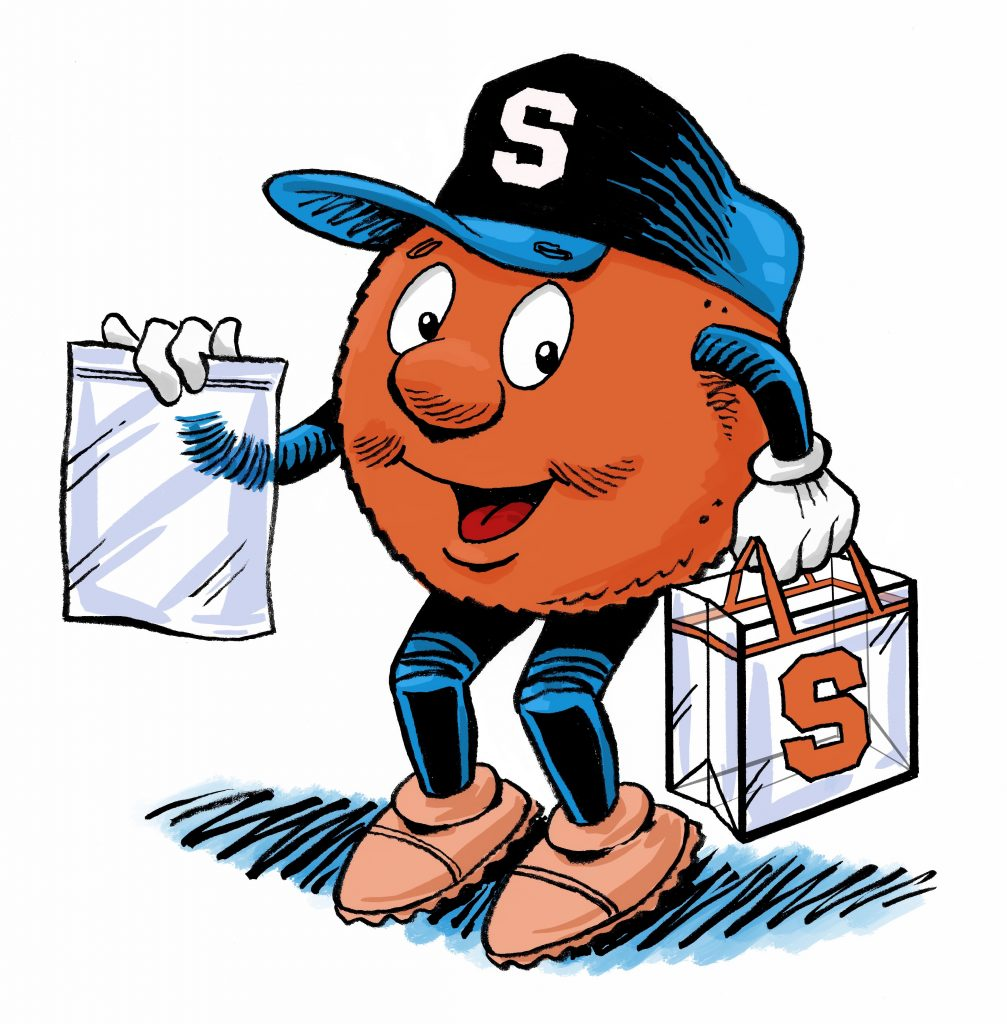 Otto the Orange holding a clear plastic bag and an SU clear tote.