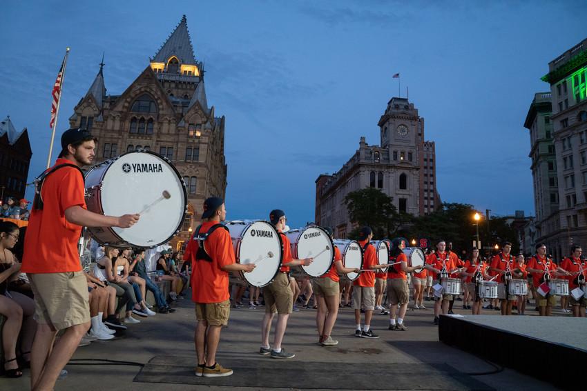 drummers beating drums