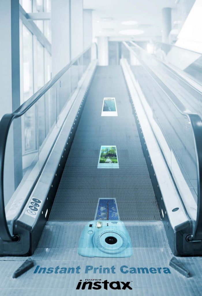 advertisement with escalator