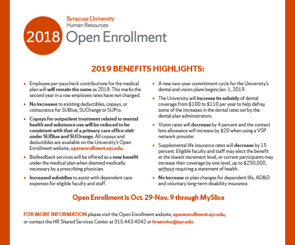 Open Enrollment flyer detailing benefits