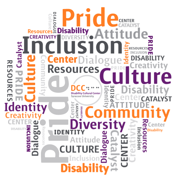 Disability word cloud graphic with the words disability, pride, inclusion, culture, resources, community, catalyst, center, diversity, identity, dialogue, creativity, attitude.