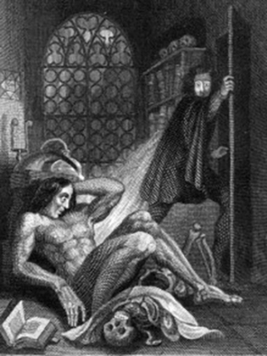 "The frontispiece of the 1831 edition of ""Frankenstein,"" featuring the first visual depiction of Victor Frankenstein and the Creature."