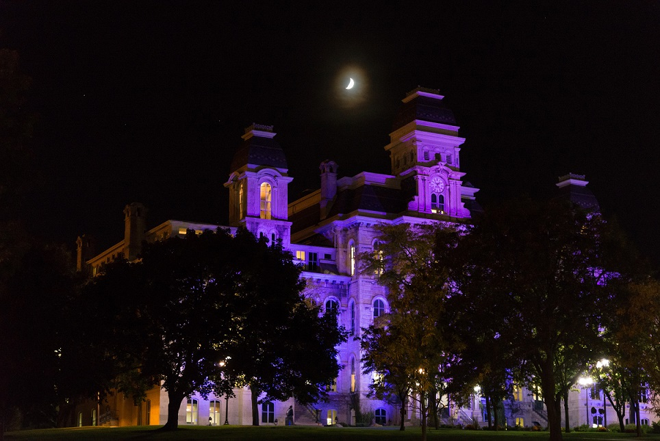 Hall of Languages lit up in purple at night with moon in background