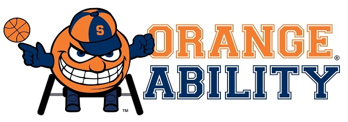 "Otto the Orange using an athletic wheelchair and spinning a basketball on his finger, next to stylized text of ""orange ability"" in orange and blue varsity-style lettering"