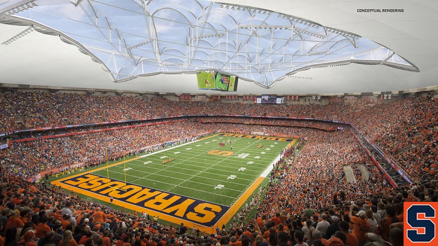 Syracuse stadium showing artist's rendering of dome