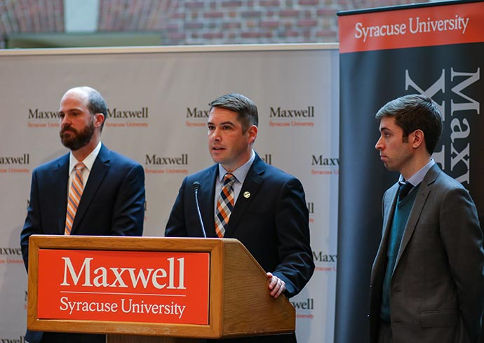 Syracuse Mayor Ben Walsh speaking at a Nov. 13 news conference at the Maxwell School.