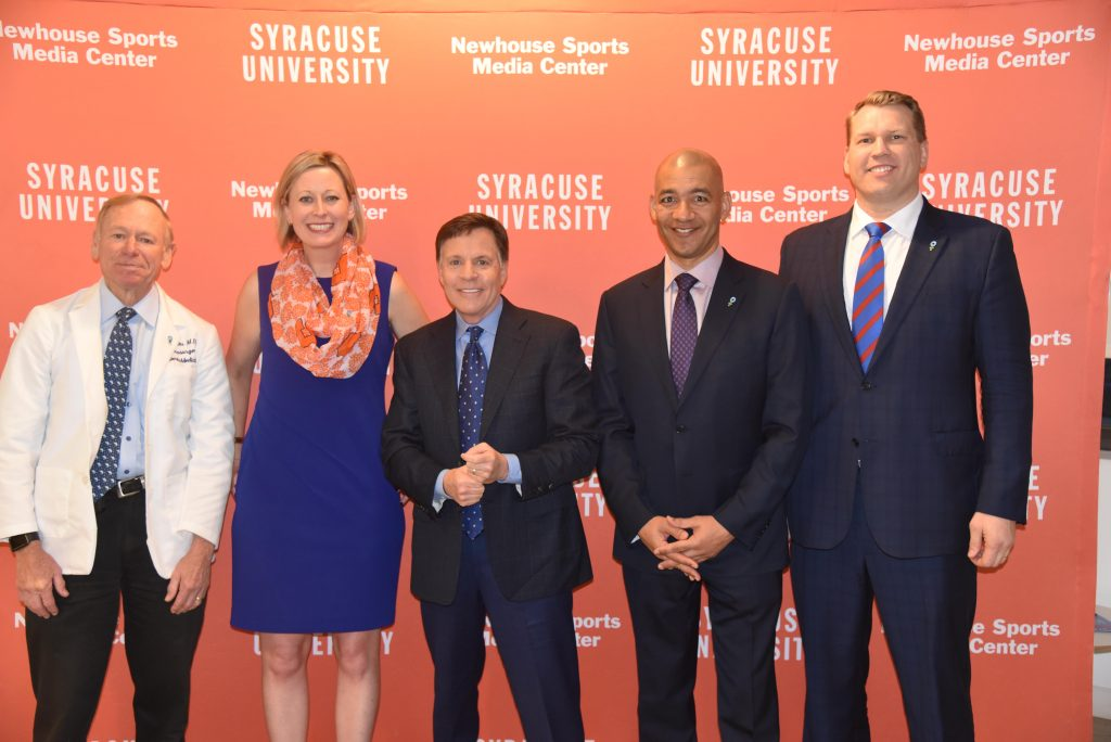 Announcing the project at a press conference in New York are (from left): Dr. Robert Cantu, Olivia Stomski, Bob Costas, J.A. Adande and Chris Nowinski.