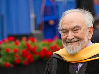 Joel L. Lebowitz G'55, G'56, H'12 at the 2012 SU Commencement, where he received an honorary degree.