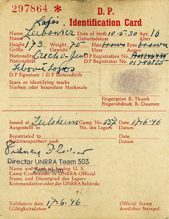 Lebowitz's ID card, issued to him at a displaced persons camp near Frankfurt, Germany, in 1946.