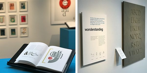 book opened in exhibition and exhibition plaque