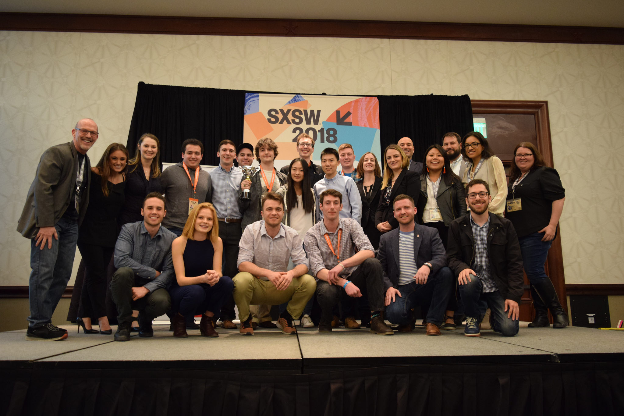 "Sean Branagan (far left) with the ""Entrepreneurial Eight"" teams and judges at the 2018 Student Startup Madness finals during the South By Southwest Interactive conference last March in Austin, Texas."