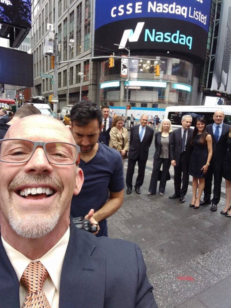 Mugging for the camera outside NASDAQ at the IPO for Chicken Soup for the Soul Entertainment.
