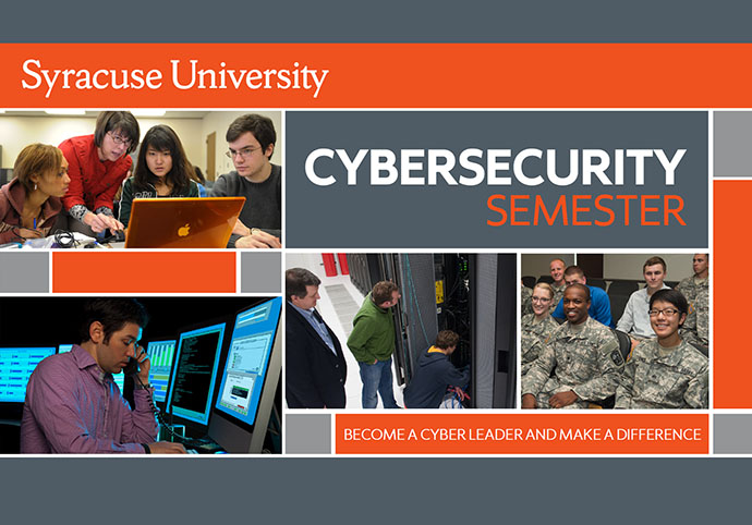 collage of photos with words Syracuse University Cybersecurity Semester