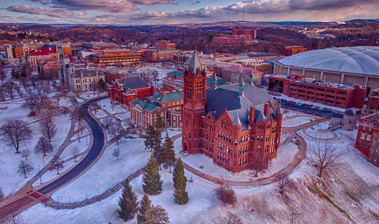aerial shot of campus views