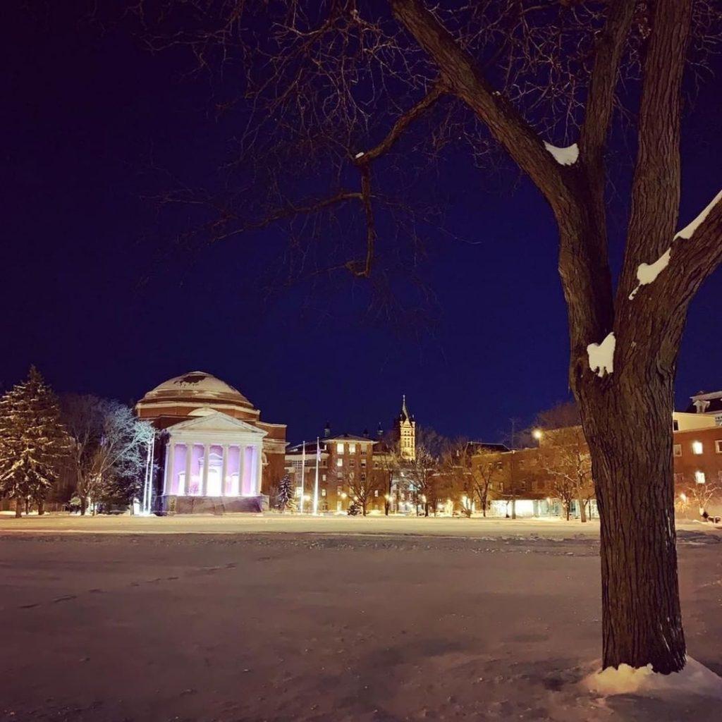 Hendricks Chapel at night