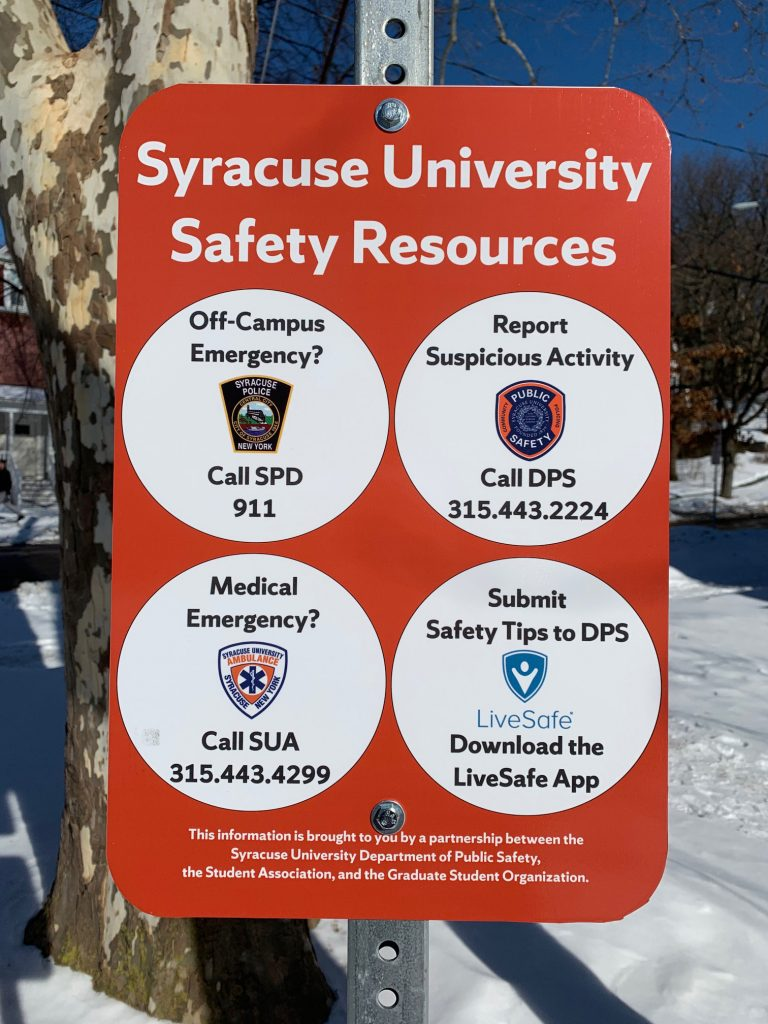 Safety resources sign
