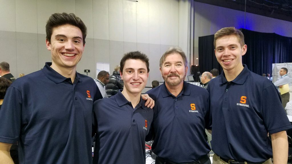 Drew Carter '19, Jonah Karp '20, sport management professor Dennis Deninger and Jackson Ajello '19 rep Syracuse on Radio Row during Super Bowl LIII Media Week in Atlanta. (Photo courtesy of Jonah Karp)