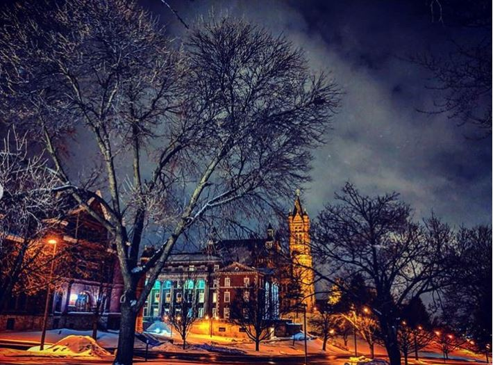 campus buildings at night