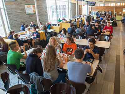 Sadler Dining Hall students eating.
