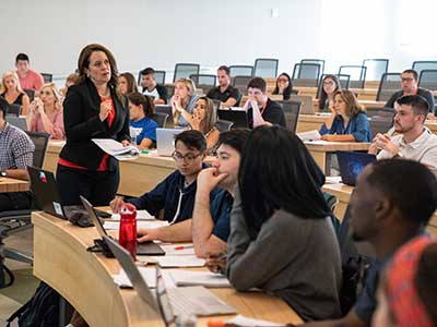 Law professor Cora True-Frost teaching a class.