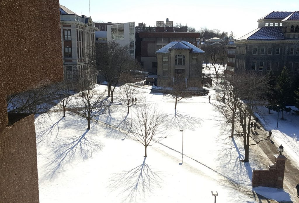 snow on ground in front of buildings
