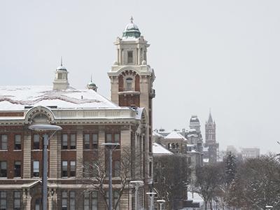 winter scene of buildings