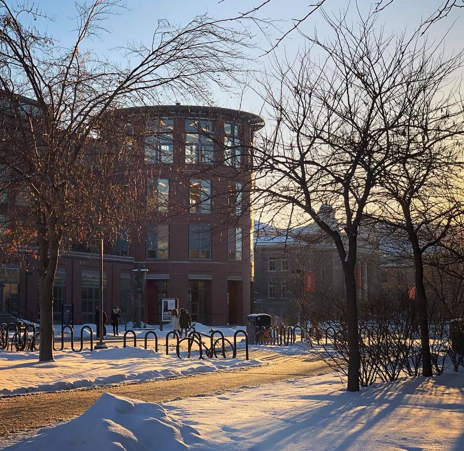 campus winter scene