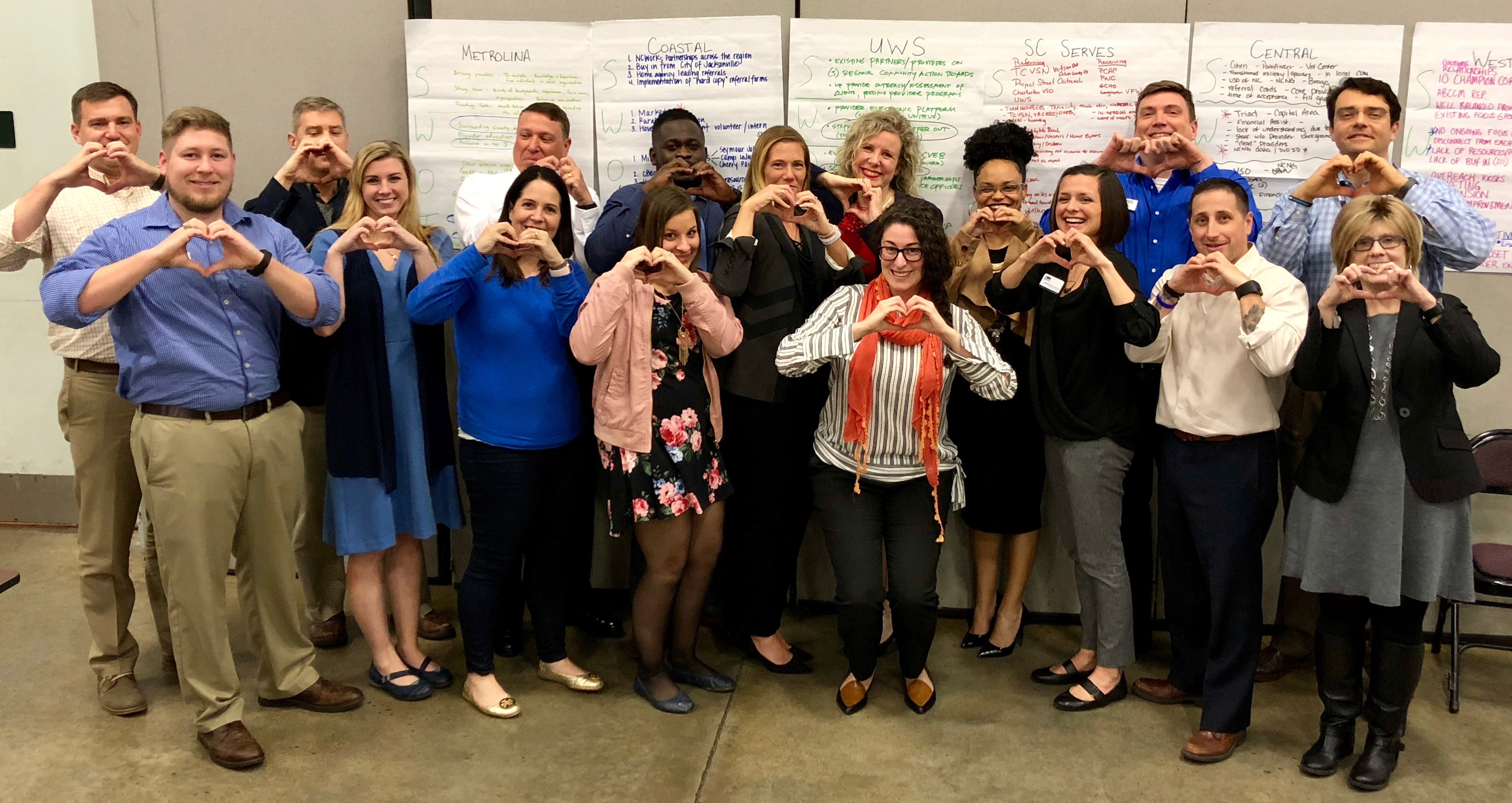 "AmericaServes loves data! Gilly Cantor with staff from the North Carolina and South Carolina Coordination Centers who came together to review data, share ideas, address challenges and recognize ""IVMFheartsData"" month in February."