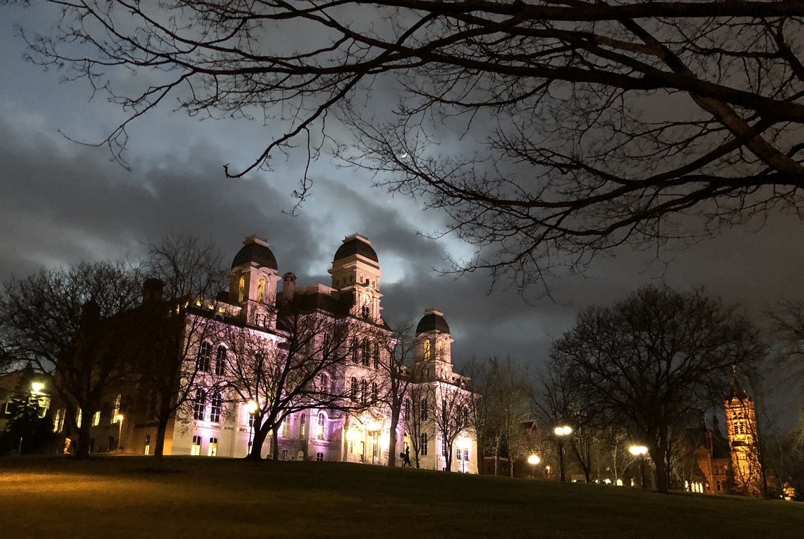 Hall of Languages lit up at night