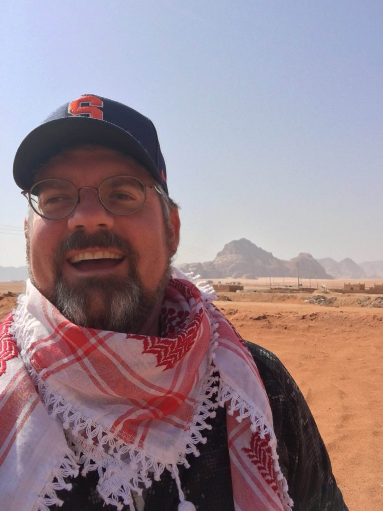 Seth Tucker in in the Wadi Rum Desert in southern Jordan in April 2018.