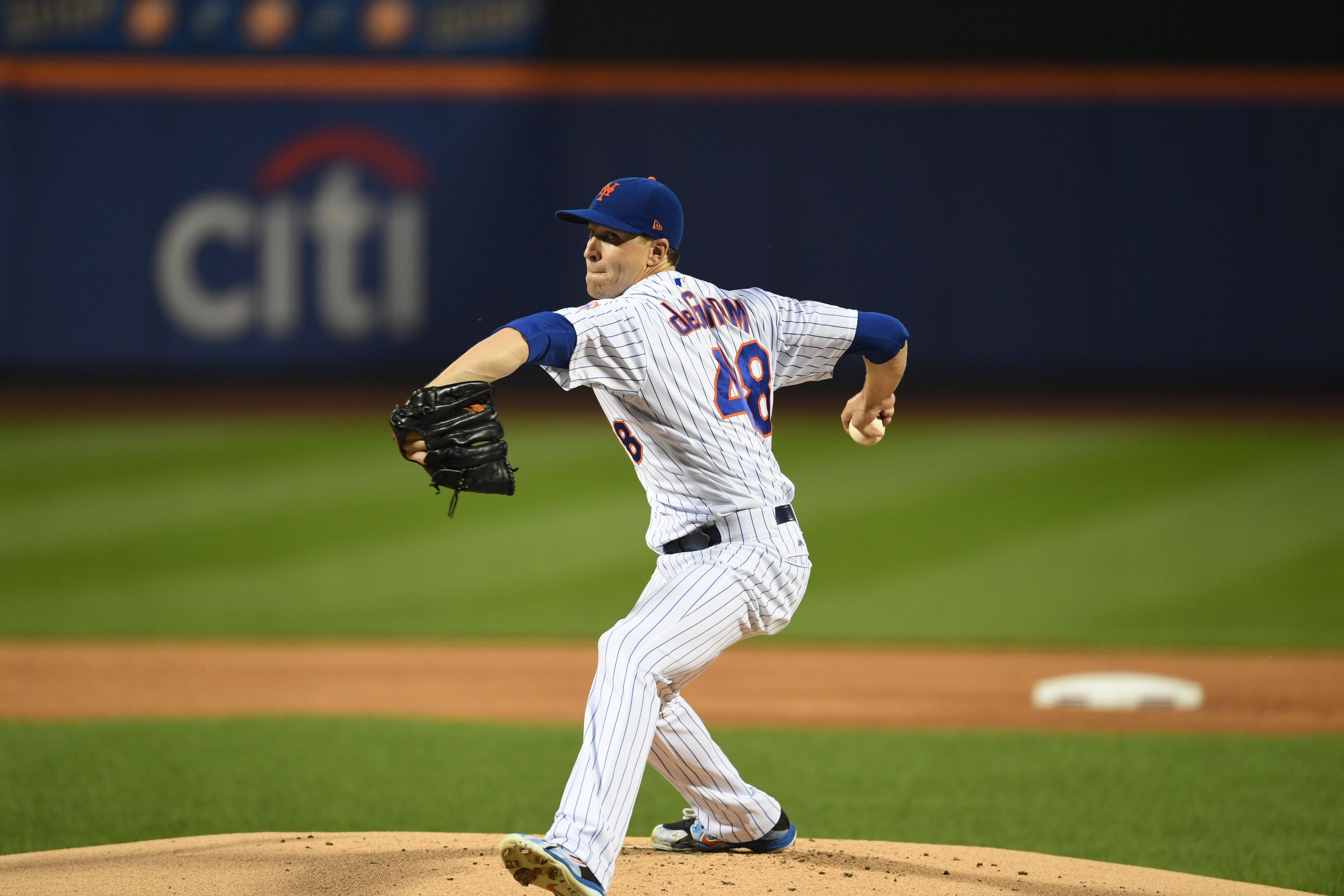 Pitcher Jacob deGrom finished last season with a 10-9 record and 1.70 ERA (leading the majors). He won the 2018 National League Cy Young Award and was fifth in the NL Most Valuable Player voting.