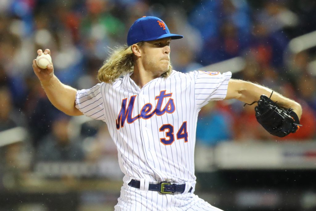 Pitcher Noah Syndergaard spent a fair portion of the 2018 season on the disabled list, but he finished with a strong 13-4 record. (Photo by Gordon Donovan)