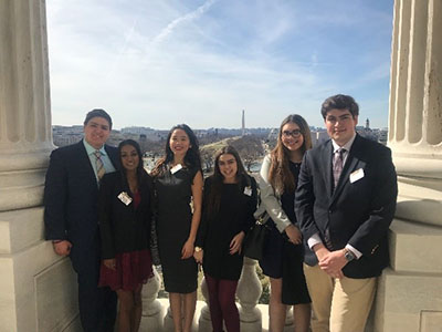 Students John Jankovic, Roma Amernath, Sarah Li, Rebecca Goodsell, Vanessa Davila and Will Pritchett in Washington, D.C.