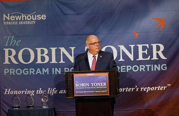 Larry Hogan delivers the keynote address at the Toner Prize Celebration on March 25. (Photo by Scott Robinson)