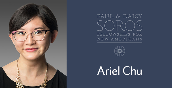 Soros graphic depicting student Ariel Chu