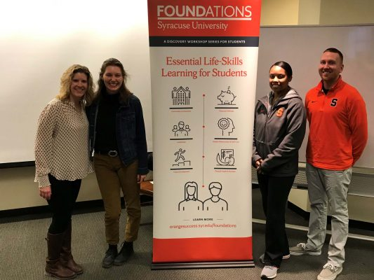 Lily Meaker, Tracy Tillapaugh, Veronica Tearney, Mark Trumbo with Foundations poster