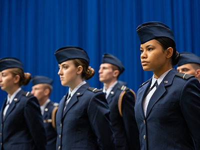 Air Force cadets standing at attention.